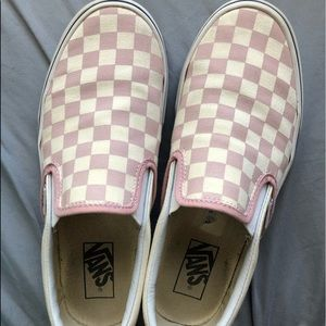 Pink Checkered Vans Like New Size 8.5 W/ 7 M